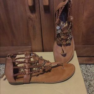 Bling, sandals, bohemian, thong, flats